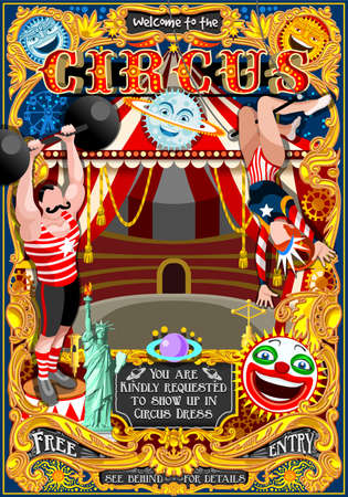 strapping: Circus carnival tent marquee amusement family theme park poster acrobat artist show invite set. Creative design vector illustration collection