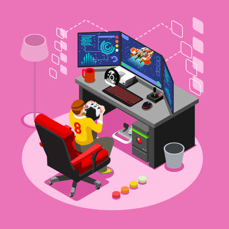 Video game screen and gamer person gaming online with console controller android phone or computer. 3D Isometric People icon set. Creative design vector illustration collection Illustration