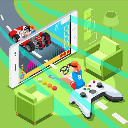 Video game screen and gamer person gaming online with console controller android phone or computer. 3D Isometric People icon set. Creative design vector illustration collection Ilustrace