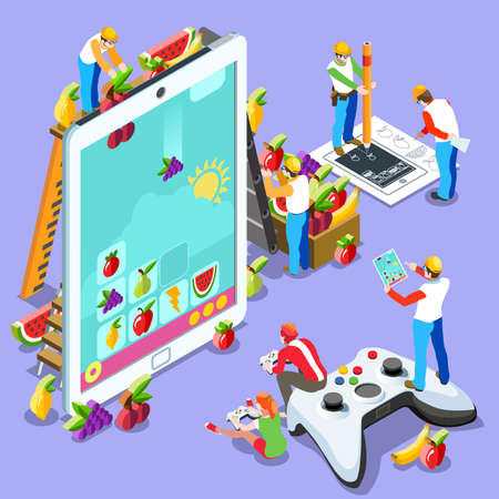 people development: Video game UX development. Web gamer person gaming online with console controller android phone or computer. 3D Isometric People icon set. Creative design vector illustration collection