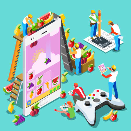 Video game UX development. Web gamer person gaming online with console controller android phone or computer. 3D Isometric People icon set. Creative design vector illustration collection