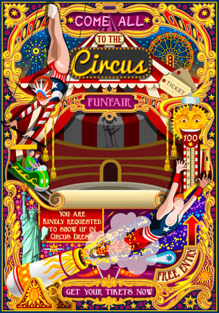 rollercoaster: Circus carnival tent marquee amusement family theme park poster acrobat artist show invite set. Creative design vector illustration collection