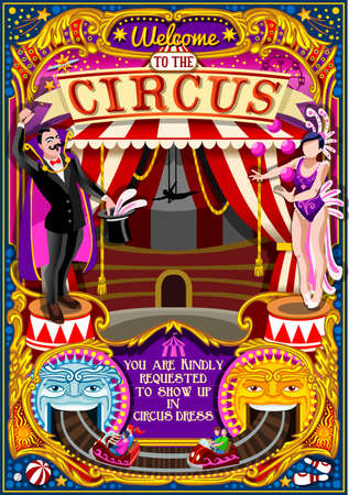 Circus carnival tent marquee amusement family theme park poster magician magic show invite set. Creative design vector illustration collection