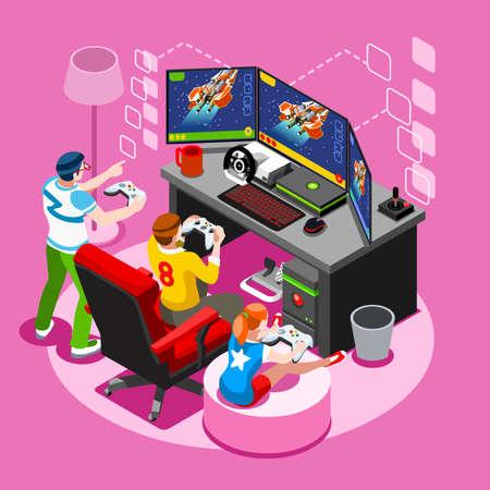 Ekran gier wideo i grająca gra online z kontrolerem konsoli android telefon lub komputer. Zestaw ikon osób izometrycznych 3D. Kreatywne projektowania ilustracji wektorowych kolekcji Ilustracje wektorowe