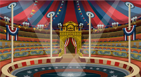 Circus carnival tent marquee amusement family theme park banner poster invite set. Creative design vector illustration collection