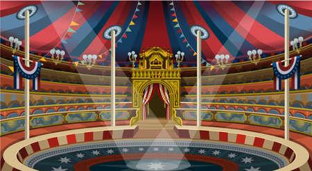 Cirque thème famille d'amusement chapiteau tente carnaval parc bannière affiche invitent mis. vecteur illustration collection design créatif