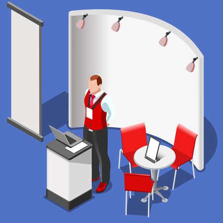 전시 부스 스탠드 데스크는 디스플레이 패널을 굴립니다. 3D 아이소 메트릭 사람들은 설정 아이콘입니다. 크리 에이 티브 디자인 벡터 일러스트 레이