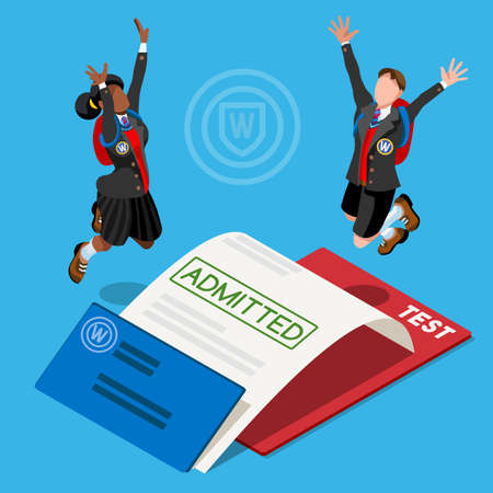 school: Kid student school college university admission certificate. People jump for joy test passed. 3D Isometric person icon set. Creative design vector illustration collection
