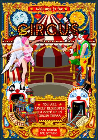 coaster: Circus carnival tent marquee amusement family theme park poster clown invite set. Creative design vector illustration collection Illustration