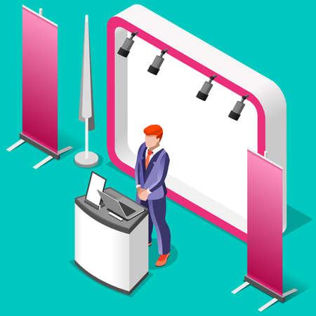 Ausstellungsstand Stand Schreibtisch Roll-up Display-Panel. 3D Isometrische Menschen Icon-Set. Kreative Design Vektor-Illustration Sammlung Vektorgrafik