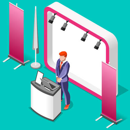 Exhibition booth stand desk roll up display panel. 3D Isometric People icon set. Creative design vector illustration collection Vector Illustration