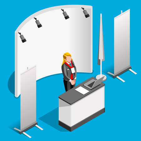 display stand: Exhibition booth stand desk roll up display panel. 3D Isometric People icon set. Creative design vector illustration collection