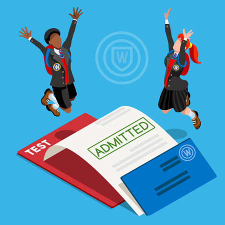 jump for joy: Kid student school college university admission certificate. People jump for joy test passed. 3D Isometric person icon set. Creative design vector illustration collection