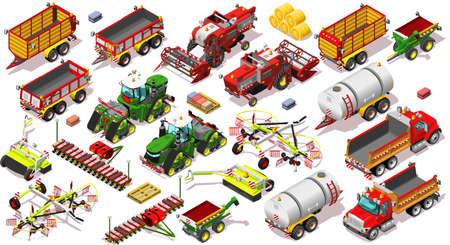vehicle icon: Isometric farm vehicle 3D icon set collection vector illustration