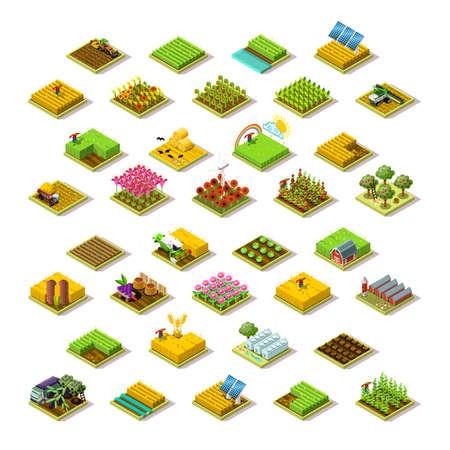 Isometrische boerderij woningbouw personeel landbouw landbouw scène 3D pictogrammenset collectie vector illustratie