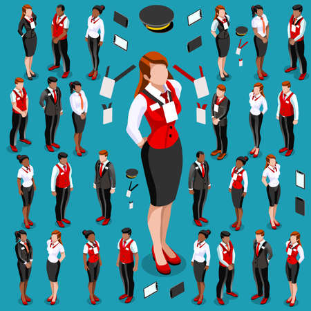 Isometric people isolated meeting infographic. 3D Isometric person icon set. Creative design vector illustration collection
