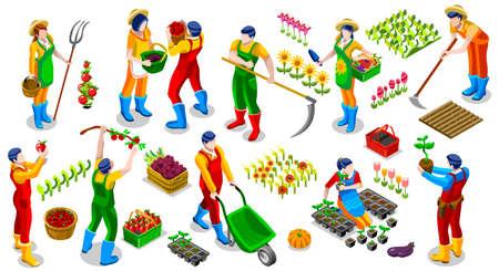 Isometrische boer mensen 3D icon set collectie vector illustratie. veld scène van het landbouwbedrijf een zaad tuingereedschap