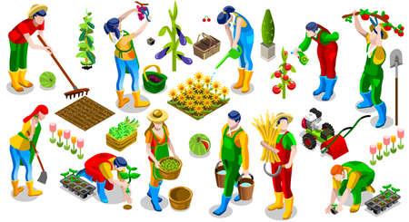 Izometryczne rolnik ludzie 3D zestaw ikon kolekcja ilustracji wektorowych. dziedzinie hodowli nasion roślin scena narzędzia ogrodnicze
