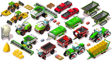 Isometric farm vehicle 3D icon set collection vector illustration