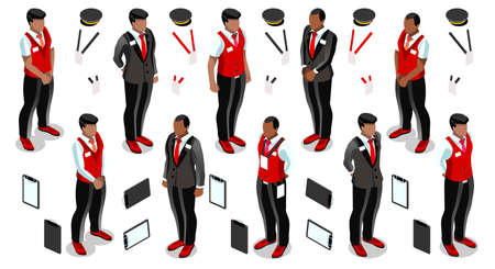 personal assistant: Isometric man male receptionist person hotel reception isolated infographic element. 3D Isometric person icon set. Creative design vector illustration collection
