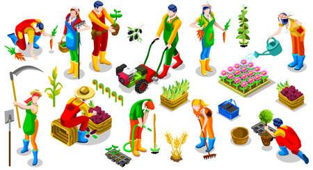 아이소 농부 사람들 3D 아이콘 세트 컬렉션 벡터 일러스트 레이 션입니다. 팜 필드 장면 종자 식물 원예 도구 일러스트