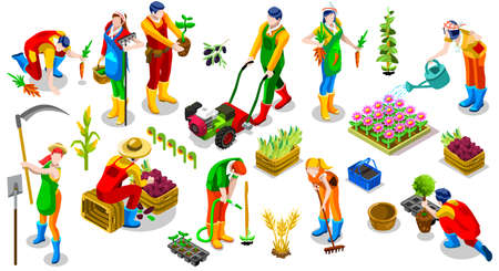 Isometric farmer people 3D icon set collection vector illustration. Farm field scene seed plant gardening tool Illustration