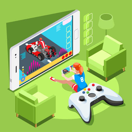Video game screen and gamer person gaming online with console controller  phone or computer. 3D Isometric People icon set. Creative design vector illustration collection