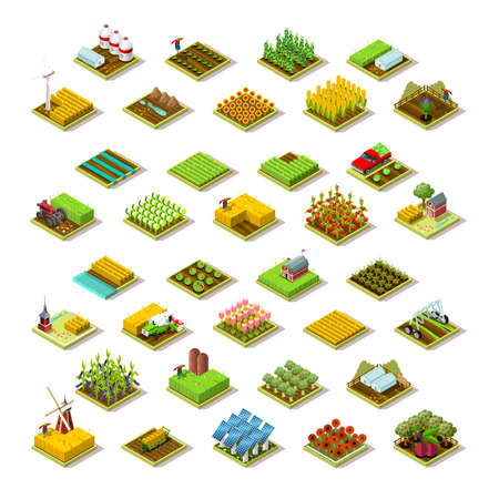 Isometric farm house building staff farming agriculture scene 3D icon set collection vector illustration