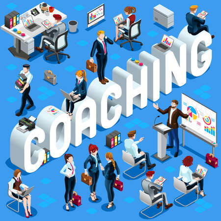 casual business meeting: Coaching Group of Diverse Isometric Business People. 3D meeting infograph crowd with standing walking casual people icon set.