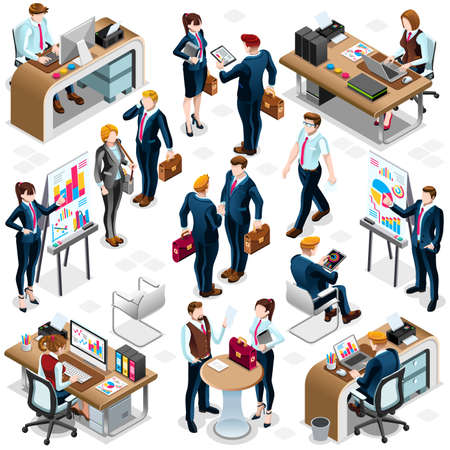 casual business meeting: Group of Diverse Isometric Business People 3D meeting infograph crowd with standing walking casual people icon set. Illustration