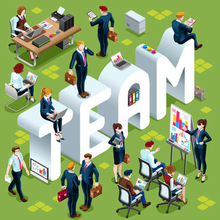 casual business meeting: Team Group of Diverse Isometric Business People 3D meeting infograph crowd with standing walking casual people icon set.