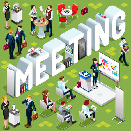 casual business meeting: Meeting Group of Diverse Isometric Business People 3D meeting infograph crowd with standing walking casual people icon set.