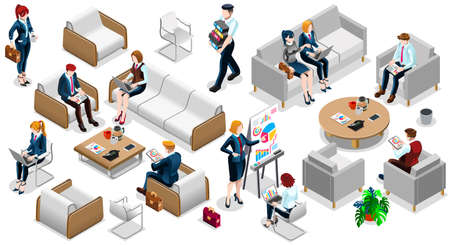 casual business meeting: Isolated Group of Diverse Isometric Business People 3D meeting infograph crowd with standing walking casual people icon set. Illustration