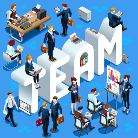 Team Group of Diverse Isometric Business People. 3D meeting infograph crowd with standing walking casual people icon set.