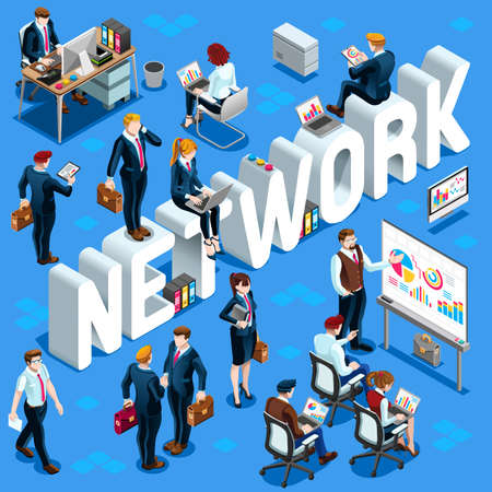 group network: Network Group of Diverse Isometric Business People. 3D meeting infograph crowd with standing walking casual people icon set. Conference handshake hand shake lot collection vector illustration Illustration