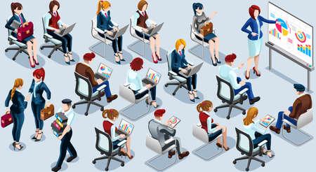 Isolierte Gruppe von verschiedenen isometrischen Geschäftsleute. 3D-Treffen Infograf Crowd mit stehenden Walking Casual Menschen Icon-Set. Konferenz Handshake Hand schütteln viel Sammlung Vektor-Illustration Standard-Bild - 73210418