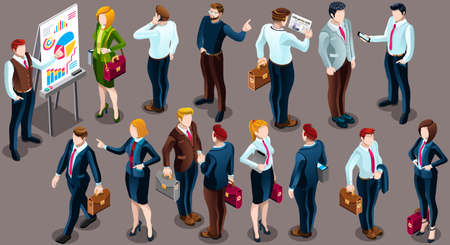 Trendy 3D isometric group of isolated bank business people. Employee desk staff character icon set. Interview and Analysis of sales deal agreement and partnership. Teamwork career vector illustration Vectores