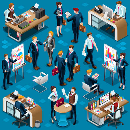 office worker: Isometric people isolated meeting staff infographic. 3D Isometric boss person icon set. Creative design vector illustration collection