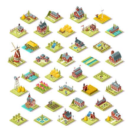 Isometric farm house building stuff farming agriculture scene 3D icon set collection vector illustration Vettoriali