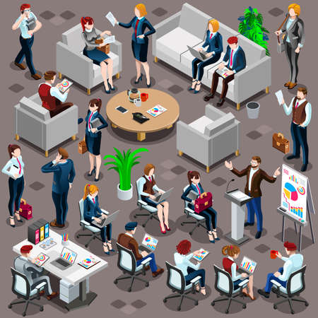 Isolated Group of Diverse Isometric Business People. 3D meeting infograph crowd with standing walking casual people icon set. Conference handshake hand shake lot collection vector illustration Banco de Imagens - 73210430