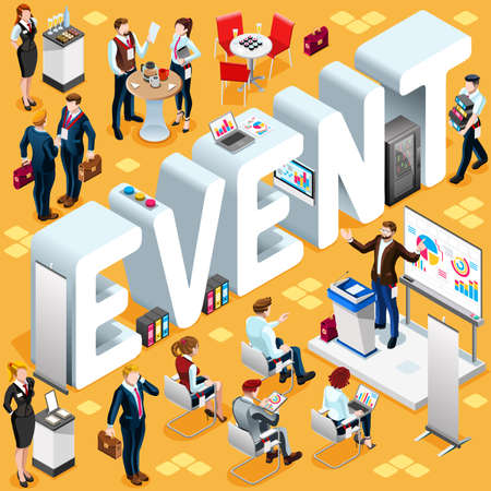 business event: Business Event Group of Diverse Isometric Business People. 3D meeting infograph crowd with standing walking casual people icon set. Conference lot collection vector illustration