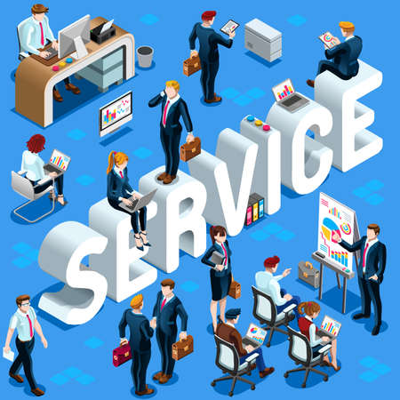 Service Group of Diverse Isometric Business People. 3D meeting infograph crowd with standing walking casual people icon set. Conference handshake hand shake lot collection vector illustration