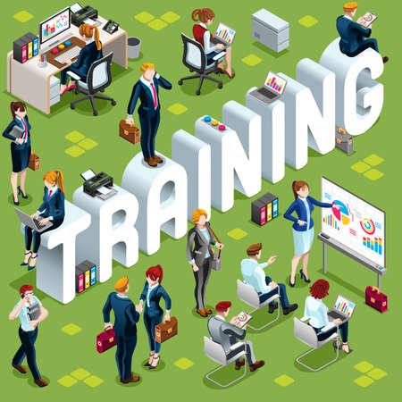 多様な等尺性ビジネス人々 のグループでトレーニング。カジュアルな人々 のアイコン セットを歩いて立っていると infograph 群集の会合の 3 D。会議