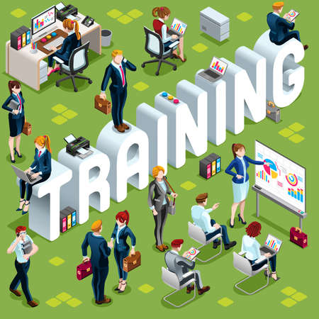 Training Group of Diverse Isometric Business People. 3D meeting infograph crowd with standing walking casual people icon set. Conference handshake hand shake lot collection vector illustration Vectores