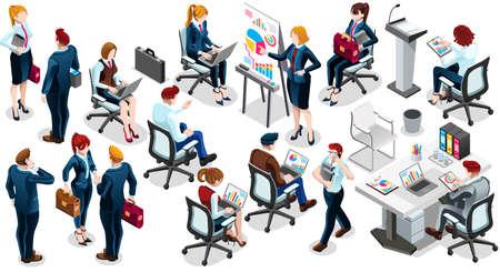 Grupo isométrico em 3D de pessoas isoladas do negócio bancário. Conjunto de ícones de personagem da equipe do pessoal empregado. Entrevista e análise do acordo de acordo de vendas e parceria. Trabalho em equipe carreira ilustração vetorial