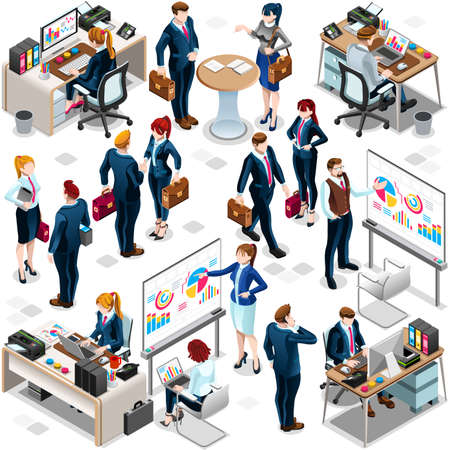 Trendy 3D isometric group of isolated bank business people. Employee desk staff character icon set. Interview and Analysis of sales deal agreement and partnership. Teamwork career vector illustration Ilustração