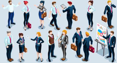 分離された銀行のビジネス人々 のトレンディな 3 D アイソ メトリック グループ。従業員スタッフは文字アイコン セットです。インタビューと売り  イラスト・ベクター素材