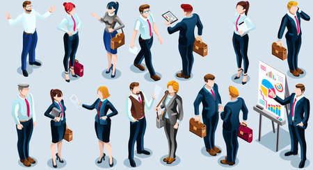 people: Trendy 3D isometric group of isolated bank business people. Employee desk staff character icon set. Interview and Analysis of sales deal agreement and partnership. Teamwork career vector illustration Illustration