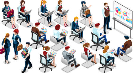 Trendy 3D isometric group isolated bank business people. Employee training staff character icon set. Interview and Analysis of sales deal agreement and partnership. Teamwork career vector illustration