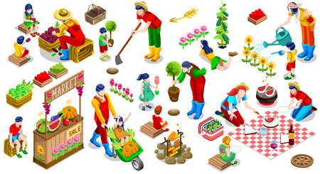 Farmer Man and Kids Planting Tree. 3D Isometric People Country Family Icon Set. Outdoor Family Bbq Party. Child Market Stand Display Fruit and Vegetables. Farming Vector Illustration Illustration